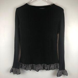 HOPOI Black Sweater Crocheted Trim Sz XL